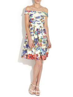 Kelly Brook Bardot Scenic Print Dress | 255018799 | New Look