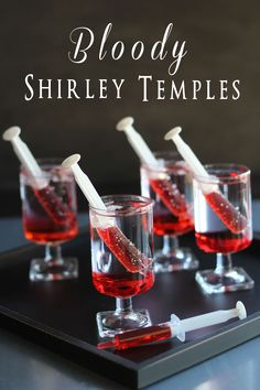 Bloody Shirley Temples~Use Sprite or 7-up, suck up Grenadine in syringe and place in glass. For adults add some vodka. Halloween Party #halloween #divinecaroline
