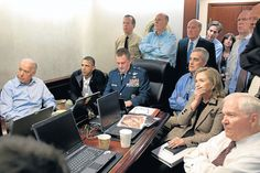 Barack Obama and Government staff watch as commandos conduct a raid, which ends with the killing of Osama bin Laden [2011]
