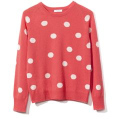 Equipment Sloan Crew Neck Sweater (515 AUD) ❤ liked on Polyvore featuring tops, sweaters, shirts, blusas, red polka dot shirt, crewneck sweater, crew-neck sweaters, red polka dot top and red polka dot sweater