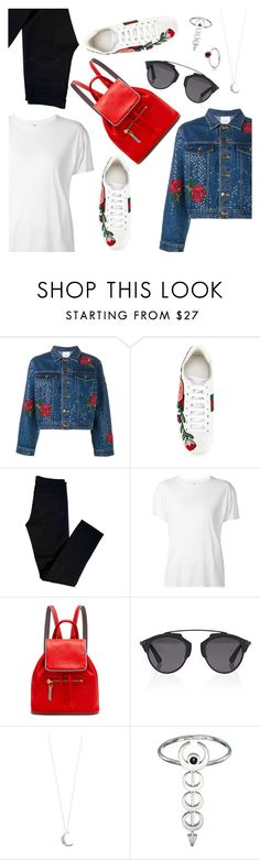 """Cool beauty"" by dressedbyrose ❤ liked on Polyvore featuring Ashish, Gucci, J Brand, R13, Rose Hovord, Christian Dior, Accessorize, Vanessa Mooney, Pandora and polyvoreeditorial"