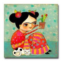 Frida con un cactus y un gato blanco y negro por la artista: Tascha Parkinson