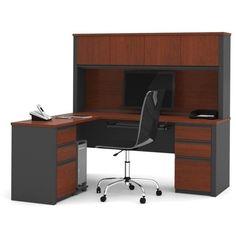 Bestar Prestige + L-Shape Wood Computer Desk ($918) ❤ liked on Polyvore featuring home, furniture, desks, cherry, l shaped computer desk, modular wood shelving, wood desk, modular desk and wood shelving