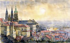 Dawn of Prague  watercolor on paper  45x70cm  All my works are available at www.shevchukart.com