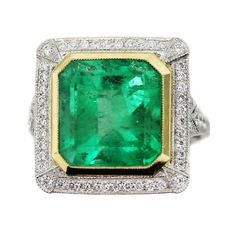 Vintage Style Emerald Platinum Yellow Gold Diamond Cocktail Ring | eBay
