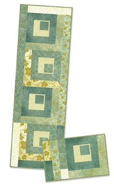 Table Runner and Placemat     Square by Square - PTN743     Marlous Designs  www.marlousdesigns.com     Based on Stonehenge - Gold Leaf collection - by Linda Ludovico