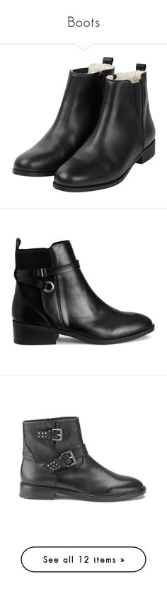 """Boots"" by safeeyafab ❤ liked on Polyvore featuring shoes, boots, ankle booties, botas, shoes - boots, beatle boots, shearling-lined boots, zip boots, ankle bootie boots and chelsea boots"