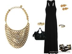 Cannot live without this gold Stella & Dot bib necklace to wear with our black Splendid Maxi dress & gladiator sandals!