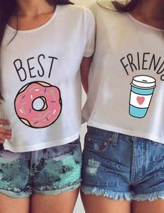 2 PC Hot Summer Women Funny Best Friends Donut And Coffee Print Couple Tops
