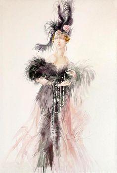 mujer de plumas negras