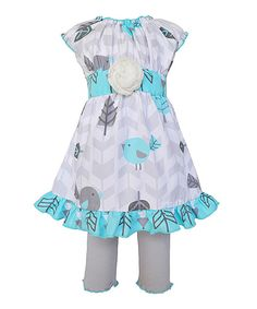 Look at this AnnLoren Blue Leaf Ruffle Dress & Leggings - Infant, Toddler & Girls on #zulily today!
