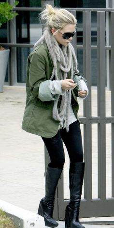 ashley. green jacket, scarf, boots - perfect for cold fall weather