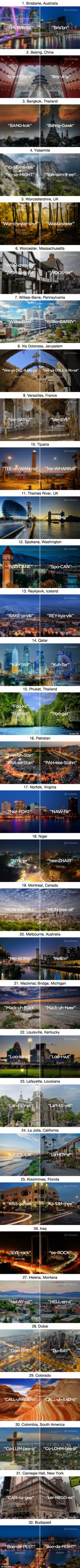 32 Places People Have Mispronounced Their Entire Life - 9GAG