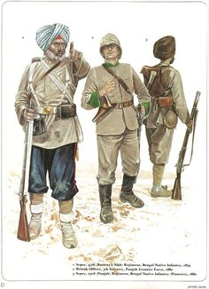 1:Sepoy,45th (Rattray's Sikh) Regiment,Bengal Native Infantry,1879.2:British Officer,5th Infantry,Punjub Frontier Force,1880.3:Sepoy,23rd (Punjub) Regiment,Bengal Native Infantry (Pioneers),1880.