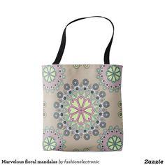 Marvelous floral mandalas tote bag