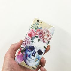 Clear Plastic Case Cover Colored Floral Skull – Milkyway