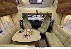 DUESSELDORF - AUGUST 27: Interior of a modern Roller Team camper van showed at the Caravan Salon Exhibition 2012 on August 27, 2012 in Düsseldorf, Germany. - Stock Image