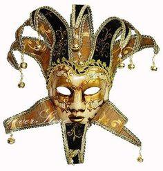 Traditional Venetian Theatre Masquerade Mask - Jester Mask - Full Face Mask For Mardi Gras Festival