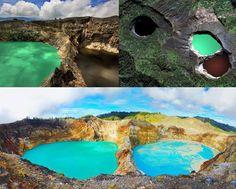 """Lago de los Espíritus, Indonesia (Las leyendas locales aseguran que, cuando alguien muere, su espíritu se dirige al Kelimutu para sumergirse en una de las tres lagunas, dependiendo de su """"edad y carácter"""")."""
