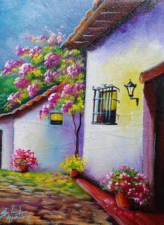 cuadros-balcones-fachadas Glass Painting Designs, Paint Designs, Simple Acrylic Paintings, Easy Paintings, Diego Rivera, Beginner Painting, Pastel Drawing, Take Me Home, Painted Rocks