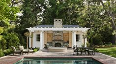 Stunning Traditional Outdoor Firepace Pool House Designs Ideas Finished With Wooden Pergola In White Color
