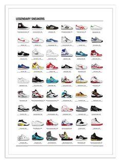 sale retailer 2c076 c1225 Art-Poster 50 x 70 cm - Legendary Sneakers - Olivier Bourdereau