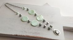 Seagreen Shell and Pearl Necklace on Etsy, $20.00