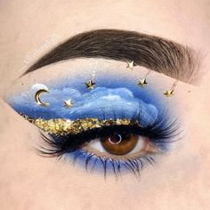 Star Makeup, Kiss Makeup, Makeup Art, Star Eyes, Moon Party, Sun Moon Stars, Black Girl Art, Blue Makeup, Makeup Inspo