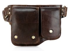 Adonis 2 Leather Waist Purse Fanny Pack - Brown