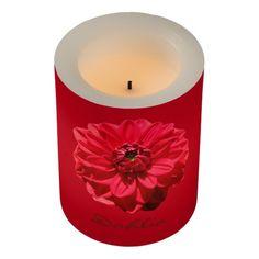 Botanical Red Dahlia Flower Led Candle