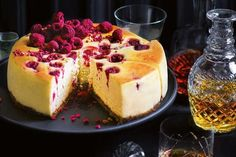 """Introducing the baked white chocolate and raspberry cheesecake. """"I have kept this recipe since my days as an apprentice at the Grand Hyatt Melbourne. It was in fact the speciality of the hotel,"""" says Shannon. Cheesecake Recipes, Dessert Recipes, Fennel Recipes, Oreo Cheesecake, Pumpkin Cheesecake, White Chocolate Raspberry Cheesecake, Clean Eating Snacks, Cake, Gourmet"""