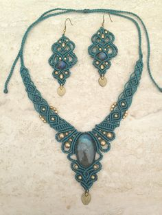 Labradorite macrame set. Necklace and earring by ARTofCecilia
