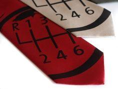 ETSY FIND-- Gear Shift necktie  6 Speed manual transmission by Cyberoptix, $ 30.00
