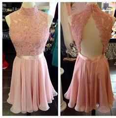 High Neck Short Chiffon Homecoming Dresses Backless Lace Appliques Mini Party Dresses Tailor Made Women Dresses