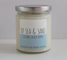 Smelled this in a bathroom in NYC this weekend. Must buy! Coconut Black Amber 9 oz Soy Candle Of Sea & Sand by OfSeaAndSand