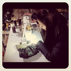 Loren Hatch working on the next collection! #dedication #handbags