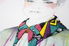 How goooood is Singapore-based artist, Izziyana Suhaimi's, latest embroidered art series 'The looms in our bones?' Source and photos: Flavorwire Textiles, Trendy Mood, Fashion Bubbles, Art Series, Mixed Media Artists, Embroidery Art, Fashion Art, Fashion Design, Creations