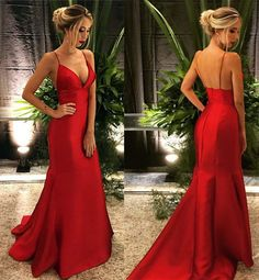 Prom Dresses Simple, Fashion V Neck Red Prom Dresses Sexy Evening Dresses, A long dress makes an elegant statement at any formal event whether it is prom, a formal dance, or wedding. Sexy Evening Dress, Formal Evening Dresses, Formal Gowns, Red Evening Gowns, Red Gowns, Formal Wear, Sexy Dresses, Fashion Dresses, Satin Dresses