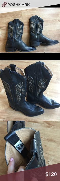 Frye studded cowboy boots Were meant to sell awhile back but didn't happen so they're still in my closet! Great deal, 100% authentic leather worn a few times, size 8.5 FRYE moto studded riding style cowboy boots. No damages to leather or studding WHATSOEVER, handmade in Mexico these are a great deal! Had on promo in prior posting-- will lower price for bundle- message me for details!! Frye Shoes Combat & Moto Boots