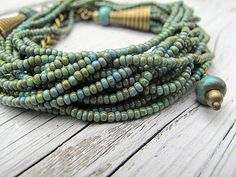 Turquoise Bead Necklace/ Convertible Wrap Bracelet by DarkRide, $46.00