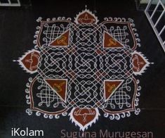 When Margazhi kolam contest was announced then itself I decided that I must put one chikku kolam. Since I am a padikkolam lover, I created a simple padikkolam design and then arranged to put the dots to fit into that design. Rangoli Designs With Dots, Rangoli With Dots, Beautiful Rangoli Designs, Kolam Designs, Dot Rangoli, Pooja Room Design, Muggulu Design, Simple Mandala, Tanjore Painting