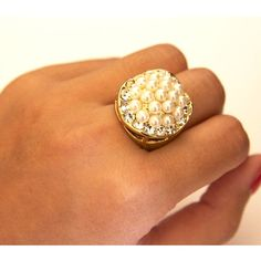 A Ring of Pearls is a striking statement ring, balls of pearls set in a gold tone base metal ring. Simple and elegant ring match with a fancy dress. $21.00 Shop here www.vyviart.com.au