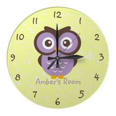 Purple Owl Personalized Kids Bedroom Wall Clock