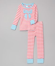 Look at this #zulilyfind! Light Blue & Pink Stripe Pajama Set - Infant, Toddler & Girls by Cat & Cow #zulilyfinds