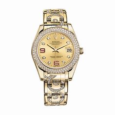#Rolex #Pearlmaster Gold #Watch (Champagne Set with #Diamonds And #Rubies)