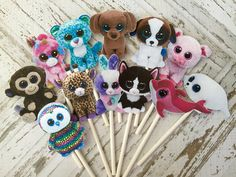 BEANIE BOOS Cupcake Toppers / Cake Toppers / Die Cuts /