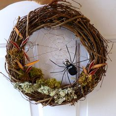 12 Inch Grape Vine Spider Web Wreath Front Door Wreath House Warming Gift Unique Custom Spider Web Wreath Anniversary Gift Nature Wire Art