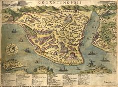 This is a Venetian map of Constantinople from the 1560s. Pera, which was the center for European traders in the city is labeled on the right.