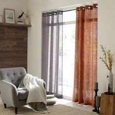 Linen Effect Voile Panel with Eyelet Header PRIX MINI | La Redoute Mobile