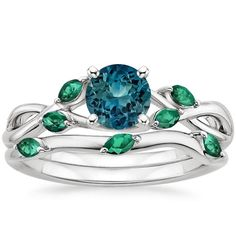 Sapphire Willow Bridal Set With Lab Emerald Accents in Platinum with 5.5mm Round Teal Sapphire
